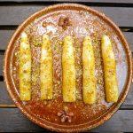 Espárragos con vinagreta de pistachos
